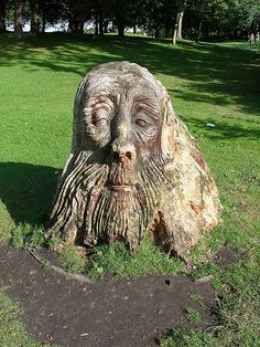WOOD CARVED HEAD by Kevin Humphreys in England