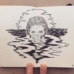 Not Defterine Yapılmış Birbirinden Leziz Kara Kalem Resimleri: Francisco Del Carpio - - Art And Illustration, Pencil Art Drawings, Art Drawings Sketches, Tattoo Drawings, Tattoo Art, Sketch Tattoo, Pen Sketch, Kunst Inspo, Art Inspo