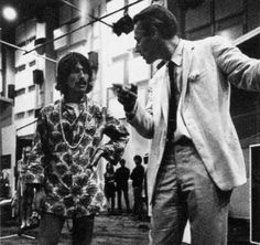 George Harrison with producer, Sir George Martin at Abbey Road studios, 1968