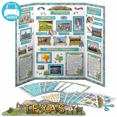Print instantly decorations for a Texas state report poster board instantly  at home! Printable kit