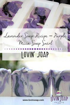 Lavender Soap Recipe - Purple Mica Soap Swirl Soap Diy When to do Bored - Soap Making Recipes, Homemade Soap Recipes, Savon Soap, Lye Soap, Castile Soap, Glycerin Soap, Soap Tutorial, Soap Making Supplies, Lavender Soap