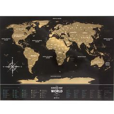 Premium Plastic Black Scratch Map Of The World Free Shipping - Black and gold world map