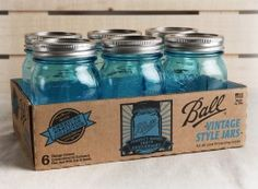 Ball Heritage Collection Blue Mason Jars 6 Ct - use for soap dispensers in kitchen and bathroom
