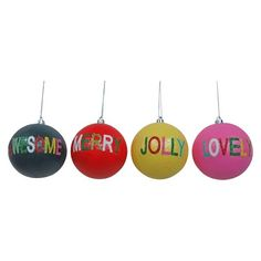Glitter Word Ball Christmas Ornament (Assorted Styles) - Wondershop™ : Target
