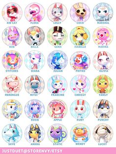 4 Villager Buttons  Animal Crossing by JustDuet on Etsy, $5.50