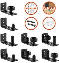 Barn Door Floor Guide Stay Roller by LIFFOS - Adjustable Wall Mount Guide with 8 Different Setups for Barn Door Hardware - Black Powder Coated - Flush Bottom - Perfect Fit For All Sliding Barn Doors Sliding Door Design, Sliding Barn Door Hardware, Diy Barn Door, Barn Doors, Sliding Doors, Living Room Partition Design, Room Partition Designs, Gate Design, House Design