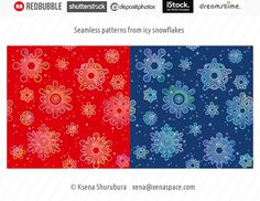 Seamless pattern with icy snowflakes | by ksena_shu