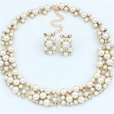 Fashion Women Chain Pendant Crystal Choker Bib Pearl Necklace Set Ear Jewelry - August 18 2019 at Women's Jewelry Sets, Ear Jewelry, Wedding Jewelry Sets, Women Jewelry, Ladies Jewelry, Jewellery, Rhinestone Jewelry, Wedding Accessories, Gold Jewelry