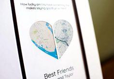 Best Friend Long Distance Gift Map Art Friendship Gift