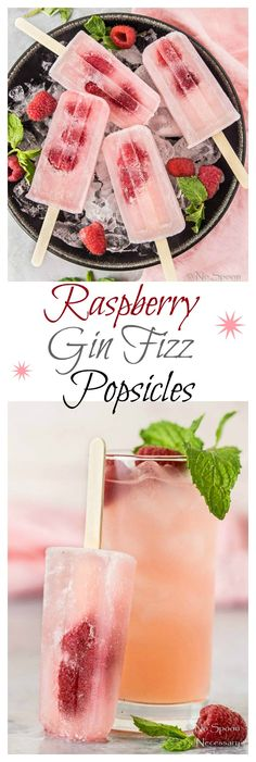 Raspberry Gin Fizz Boozy Popsicles - No Spoon Necessary Raspberry Popsicles, Raspberry Gin, Rasberry Sorbet, Coconut Sorbet, Gin Fizz, Frozen Desserts, Frozen Treats, Slushies, Frozen Cocktail
