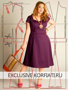 Выкройка платья большого размера для полных женщин. Легкое, летящее, с вертикальными рельефными швами и короткими рукавчиками - оно все меняет!