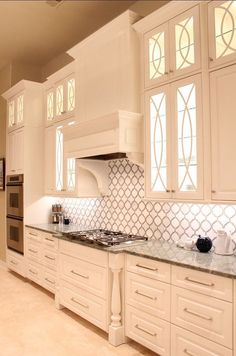 Kitchen Cabinet Kitchen cabinet design ideas come best when you have consulted all the possible design avenues. - Here are some kitchen cabinet design ideas that you might want to use as you design your home kitchen. White Kitchen Cabinets, Kitchen Cabinet Design, Kitchen Backsplash, Kitchen White, Backsplash Ideas, Backsplash Arabesque, Glass Kitchen Cabinet Doors, Cabinet Refacing, Narrow Kitchen