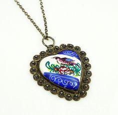 Persian Enamel Necklace Bird Heart Shape Silver by zephyrvintage
