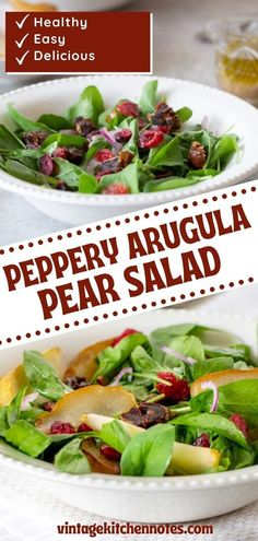 Mix up your boring salad routine with this flavorful fall salad! This mixture features peppery arugula that is paired with sweet cranberries & pears. The sweet fruit with the greens is a delicious combination that is vibrant & great to prep for crowds. Pear Recipes, Fruit Recipes, Fall Recipes, Vegetarian Recipes, Pear Arugula Salad, Spinach Salad, Perfect Salad Recipe, Dried Figs, Kinds Of Salad