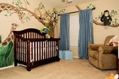Baby Nursery:Nursery Ideas and Baby Room Decorating Ideas with Wall Accessories Zoo Baby Nursery Themes Animal Wall Art Decor For Baby Bedroom Dark Wooden Reese Crib And Brown Wingback Sofa Design Theme Baby Bedroom Ideas Reese Dresser Topper Set