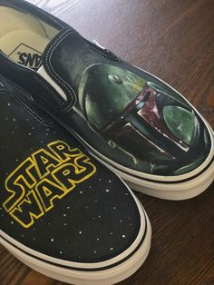 Walk away with more than just shoes! Disney Painted Shoes, Painted Toms, Disney Shoes, Star Wars Vans, Star Wars Shoes, Custom Vans Shoes, Custom Painted Shoes, Cool Trainers, Painting Shoes