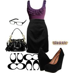 Purple & Black work outfit