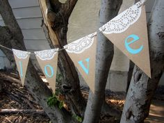 Rustic Lace Doily Banner - Custom words and colors - Wedding, Bridal Shower, Baby Shower, Photography Prop. $14.99, via Etsy.