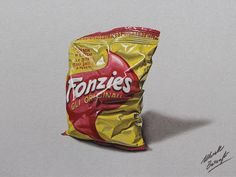Marcello Barenghi: A bag of Fonzies chips drawing
