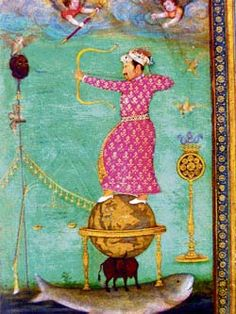 [People Activity- War] The emperor Jahangir shooting an arrow through the head of Malik Ambar. A century version of the painting by Abu'l Hasan, dated 1616 Mughal Paintings, Muhammad, 16th Century, Emperor, Arrow, War, Activities, People, People Illustration
