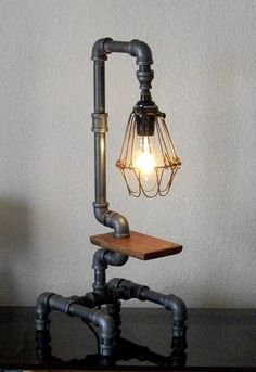 Industrial style pipe lamp with clear glass insulator and for Gas pipe desk lamp