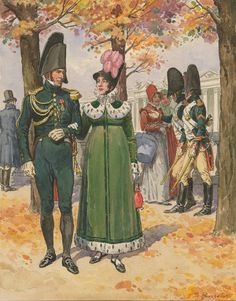 "Imperial Guard, Empress Dragoons: Officer in tenue de sortie du matin, and dragoons in tenue de ville"" by Lucien Rousselot"
