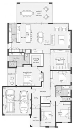 Floor Plan Friday: Impressive kitchen, e-zone and spacious living - I thought I might have shared this one before but I went through my archives and it seems not! 4 Bedroom House Plans, New House Plans, Dream House Plans, House Floor Plans, Floor Plan 4 Bedroom, Garage Bedroom, Home Design Floor Plans, Plan Design, Modern Floor Plans