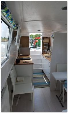 Cheap Houseboat Interior Ideas Barge Interior, Home Interior Design, Interior Decorating, Interior Ideas, Yacht Interior, Modern Interior, Narrowboat Kitchen, Narrowboat Interiors, Canal Boat Interior