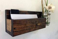 Rustic wood mail organizer rack with mason jar wall mail