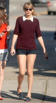 Taylor Swift's Burgundy sweater with white shirt and navy shorts and cat eye sunglasses.  Outfit details: http://wwtaylorw.com/2718/