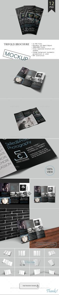 Trifold Brochure Mockup  #trifold #brochure #mockup #download #downloadmockup #presentation #preview #photography #photoshop #smartobject