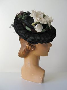 vintage 1940s tilt hat / 40s toy hat / Afternoon by Dronning