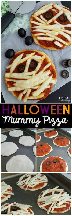 This Halloween Mummy Pizza is the perfect kids food craft for kids. It makes a great Halloween Dinner before trick or treating.