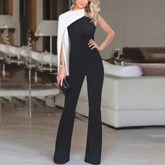 Fashion deep V-neck solid color single-sleeve stitching jumpsuit Skirt Fashion, Fashion Dresses, Fashion Jumpsuits, Style Fashion, Fashion Trends, Sequin Jumpsuit, Collar Designs, Jumpsuit With Sleeves, Skirt Pants