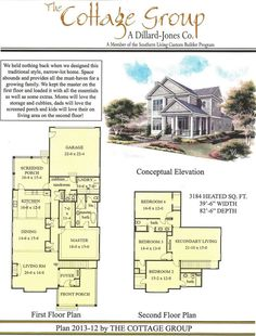 The Cottage Group Plan 2013-12 - 3,184 sq. ft. - 4 bed, 3.5 bath - don't care for the elevation (I'd make the front porch go across the whole front), but love the layout and all the large rooms, esp. for a narrow lot plan