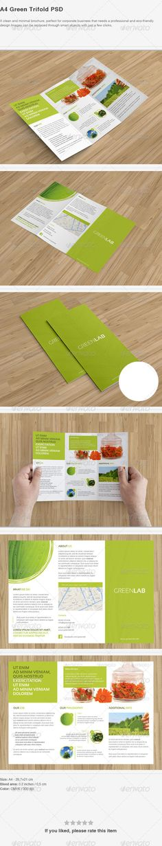 A4 Green Trifold PSD (CS3, 11.7x8.3, bio, brochure, business, business style, clean, company, corporate, corporate style, eco, ecological, ecology, flowers, green, herb, herbalist, herbs, medical, medical herb, modern, tri-fold, trifold)