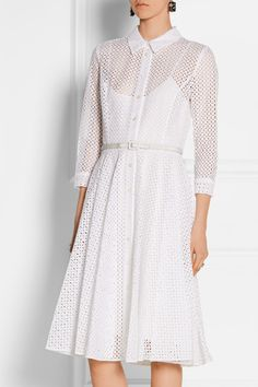 OSCAR DE LA RENTA Belted broderie anglaise cotton shirt dress | net-a-porter