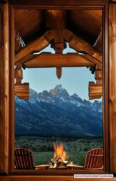 The log homes plans featured here showcase a majestic mountain home in Jackson Hole, Wyoming. This sprawling square foot beauty is a real show stopper -- both inside and out! Just Dream, My Dream Home, Dream Big, Ventana Windows, Cabin In The Woods, Log Homes, Cabin Homes, Timber Homes, Oh The Places You'll Go