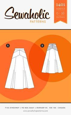 Sewaholic Patterns 1401 Gabriola Skirt Line Drawing