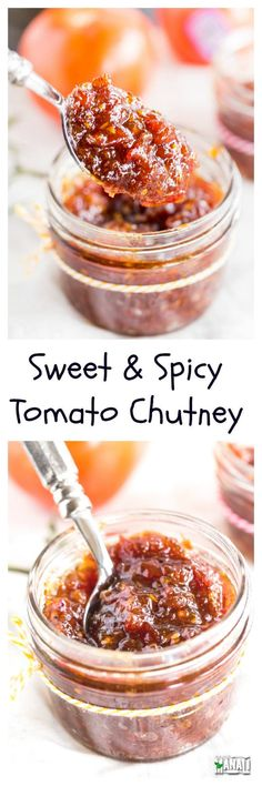 Sweet & Spicy Tomato Chutney is awesome with parathas or sandwiches! It's the perfect accompaniment to any Indian meal. Spicy Tomato Chutney, Tomato Relish, Jam Recipes, Canning Recipes, Vegan Recipes, Curry Recipes, Chutneys, Indian Meal, Sweet And Spicy