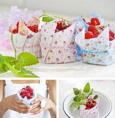 Empaque para presentar frutas dulces en fiesta al aire libre.