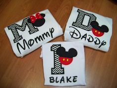 Cute idea, although it'd have to be minnie for both me and sav and mickey for dad. And probably purple minnie heads :) Theme Mickey, Mickey Mouse Clubhouse Birthday Party, Mickey Mouse 1st Birthday, Mickey Mouse Parties, Mickey Party, Mickey Mouse Family Shirts, Baby Mickey, 1st Boy Birthday, First Birthday Parties
