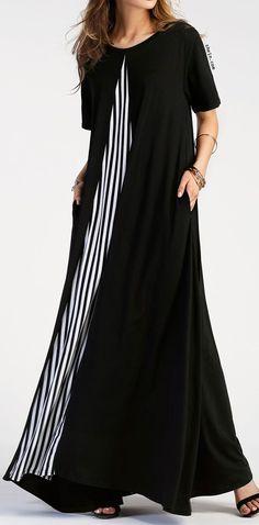 Contrast Striped Panel Full Length Dress