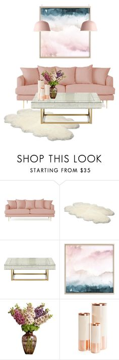 """""""Pretty in Pink Living room set"""" by maddy0428 on Polyvore featuring interior, interiors, interior design, home, home decor, interior decorating, Joybird, UGG Australia, Jonathan Adler and Hawkins"""
