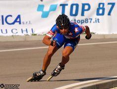 Inline speed skate.