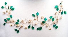 Emerald Green Bridal Hair Vine, Hair Piece, Wedding Accessories, Bridal Hair Accessories. $71.95, via Etsy.