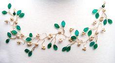 Emerald Green Bridal Hair Vine, Hair Piece, Wedding Accessories, Bridal Hair Accessories. $71.95, via Etsy.