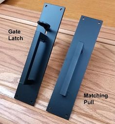 Ponderosa Gate Thumb Latch Kit (L) (with optional matching pull shown on (R) Premium Quality Construction Solid Forged Steel Dark Bronze Powder Coat Side Gates, Front Gates, Fence Gates, Wood Fences, Privacy Fences, Entrance Gates, Fencing, Gate Handles, Gate Locks