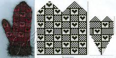 Heart and checker graph Mittens Pattern, Knit Mittens, Mitten Gloves, Knitted Hats, Knitting Charts, Knitting Stitches, Knitting Patterns, Beading Patterns, Craft Patterns