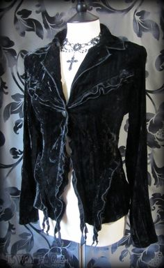 Vintage Goth Black Crushed Velvet Frilled Jacket Top 12 14 Gothic Romantic Alt   THE WILTED ROSE GARDEN on eBay // Worldwide Shipping Available